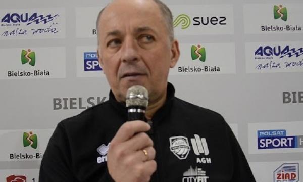 Andrzej Kubacki trener AZS AGH Kraków po meczu w Bielsku-Białej